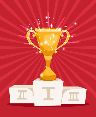 Golden award prize cup on podium with sparkles. Vector illustration Illustration