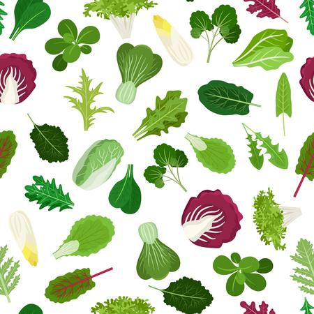 Insalata di verdure leaves modello senza saldatura per cucinare i siti web e carta da imballaggio per frutta e verdura negozio. illustrazione di vettore