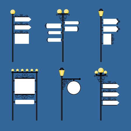 lighting column: Street lights with streets read signs like arrows and frames, retro style billboards. Vector illustration Illustration