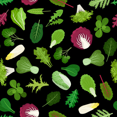 potherb: Salad green vegetables lettuce leaves and herbs background. Vector illustration