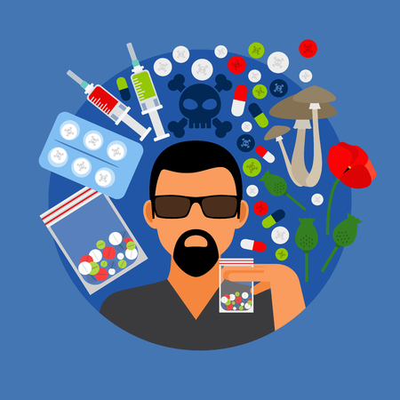 Drugs poster, man with pills on blue background. Vector illustration Illustration