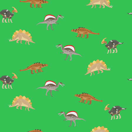 Dinosaur seamless pattern on green background vector illustration