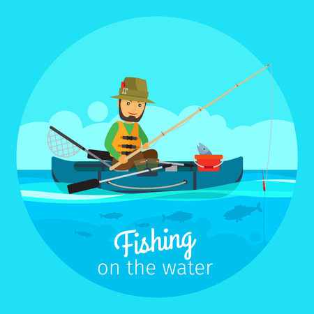 Fishing vector concept. Fisherman in boat with fishing gear and rod with bait on the hook Illustration