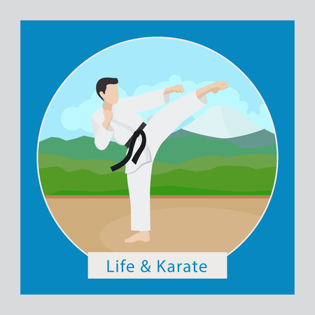 kyokushinkai: Life and karate circle icon with logo. Vector illustration
