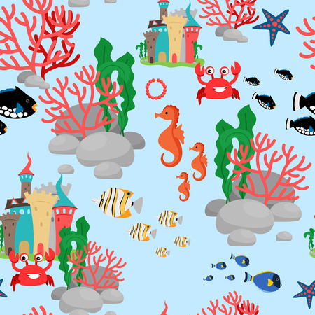 clown fish: Cartoon sea-horse, crab and fishes seamless pattern on blue background. Vector illustration