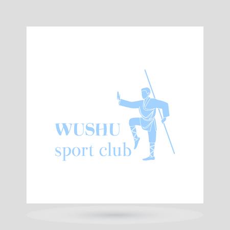 wushu: Fight club logo design presentation. Wushu man symbol on white background. Vector illustration