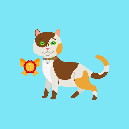 Cat win an award on blue background vector illustration