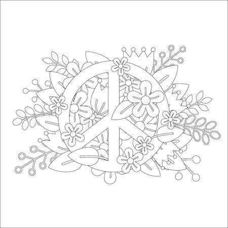 Ilustración Vectorial De Colorido Símbolo De La Paz En La Página ...
