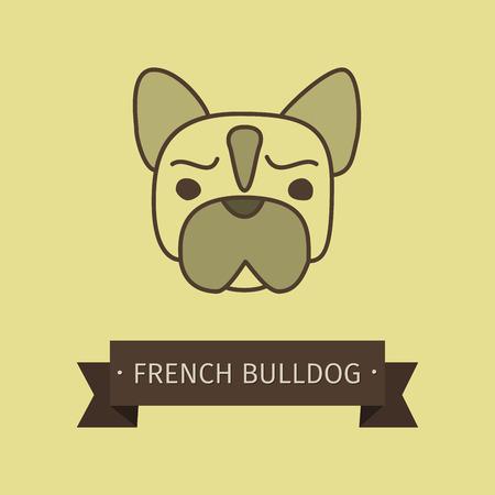 brawny: French bulldog breed dog for logo design. Vector colored hand drawn dog head