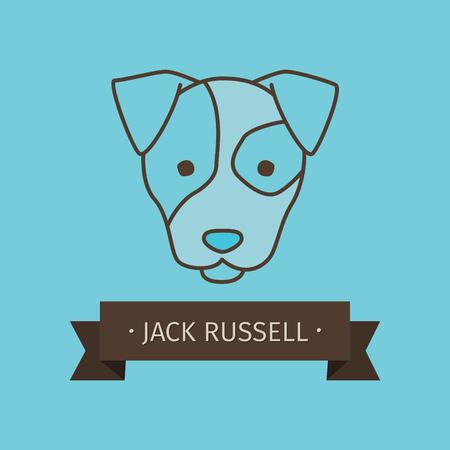 Jack-Russel-Zuchthund für Logo-Design. Vector farbige Hand gezeichnet Hundekopf