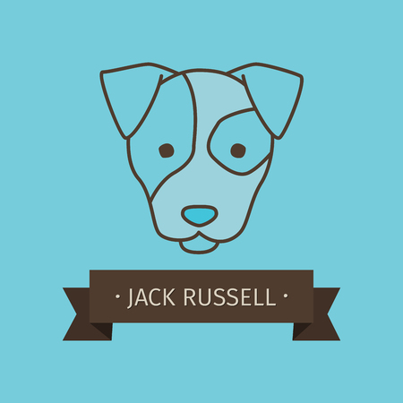 Jack russel breed dog for logo design. Vector colored hand drawn dog head Illustration