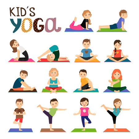 Kinderen yoga vector iconen set. Glimlachende kinderen in verschillende yoga stelt collectie op een witte achtergrond