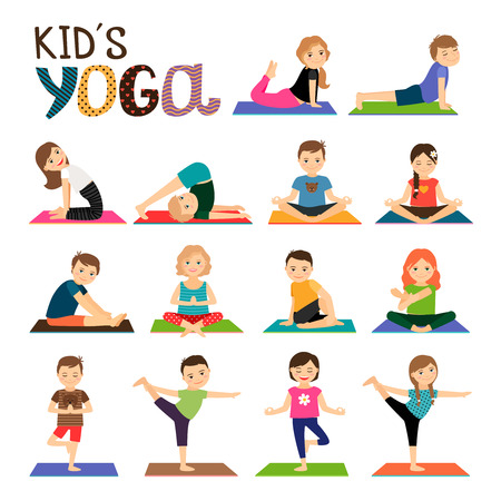 Kids yoga vector icons set. Smiling children in different yoga poses collection on white background Vettoriali