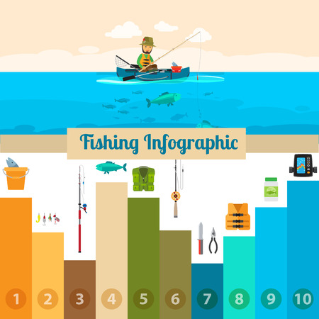 Fishing sport infographicwith a fisherman in boat, vector illustration Illustration