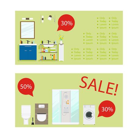 Horizontal flyers for bathroom furniture sale. Vector illustration