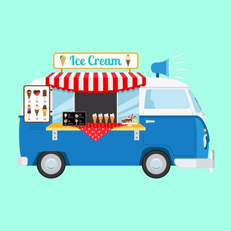 Ice cream cartoon caricon on light blue background. Vector illustration