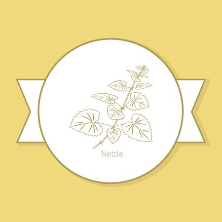 halm: Nettle medicine plant, yellow label design in circle shape and flat shadow. Vector illustration