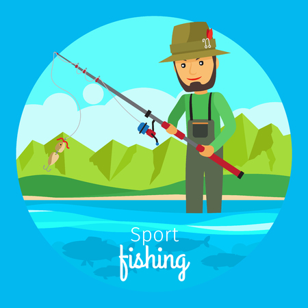 fishery: Sport fishing vector concept. Fisherman in boat with fishing gear and rod with bait on the hook