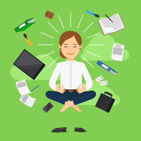 Businesswoman in meditating position on green background. Vector illustration Illustration