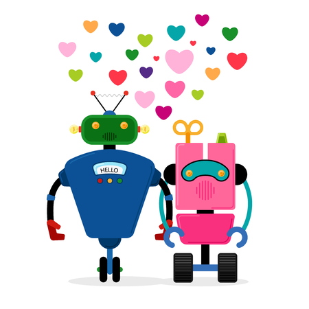 Robot love story vector illustration. Two robots holding hand on white background Illustration