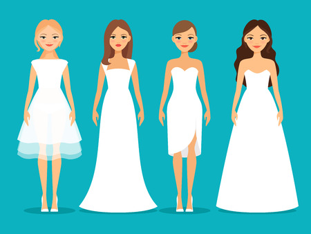 Women in wedding dresses on blue background. Beautiful white dresses collection vector illustration