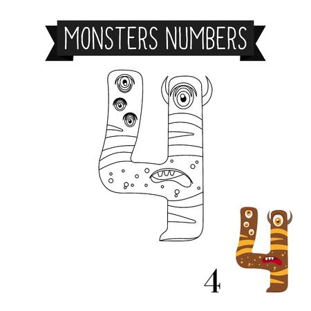Dibujos Para Colorear Números De Monstruos Para Niños. Ilustración ...