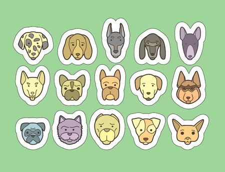 saint bernard: Head of dog and puppy set. Vector hand drawn dog breeds stickers