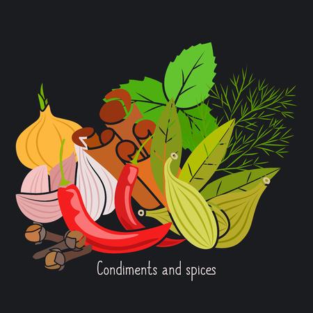 Condiments and spices vector illustration on the dark background Ilustração