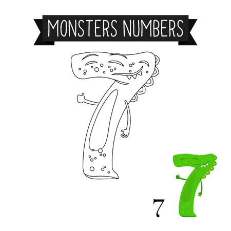 number 7 coloring page. Coloring page monsters numbers for kids  Number 7 vector illustration Vector Page Monsters Numbers For Kids 4