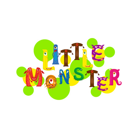 Little monster print design for textile with Monsters letters. Vector illustration