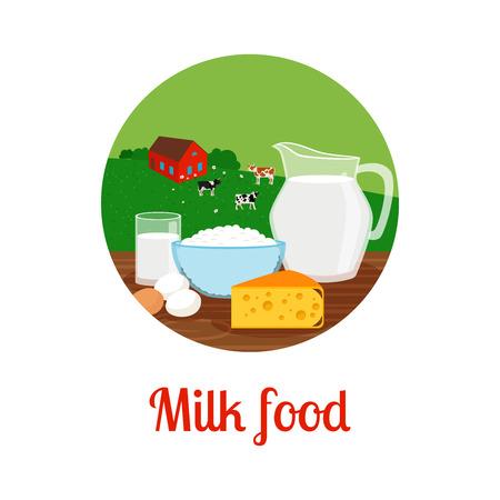 Milk and milk food with farm landscape circle icon design. Vector illustration