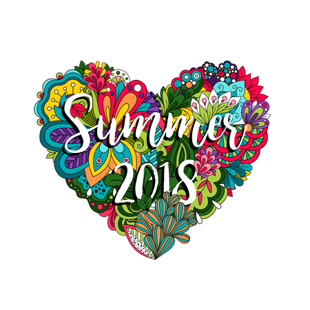 Summer 2018 vector illutration with flowers and heart