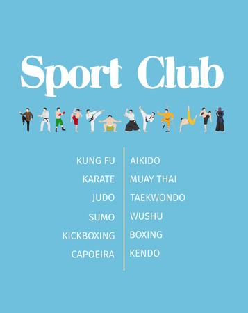 Fight club poster design on blue background. Vector illustration