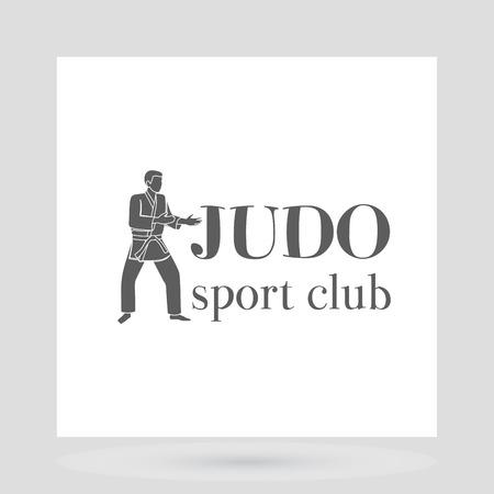 Judo sport club logo design with grey silhouette of man. Vector illustration
