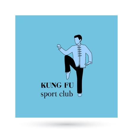 vietvodao: Kung fu sport club logo design presentation. Vector illustration Illustration