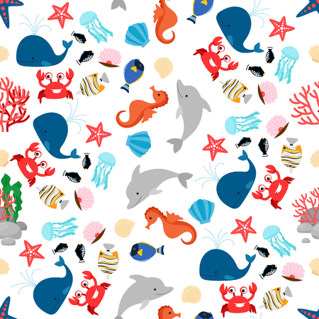 Cartoon colorful sea animal seamless pattern vector illustration Illustration