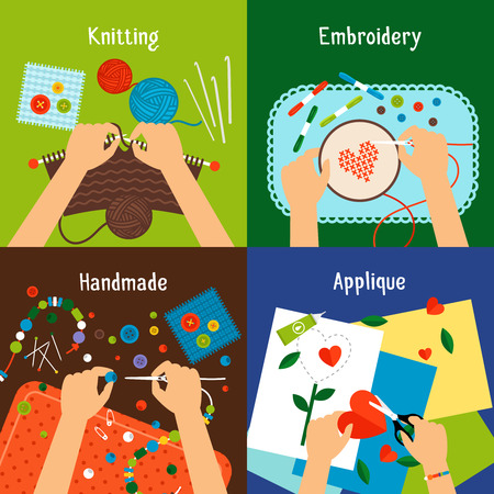 Handmade vector illustration set. Human hands knitting, cross stiching, cutting and working with beads Illustration