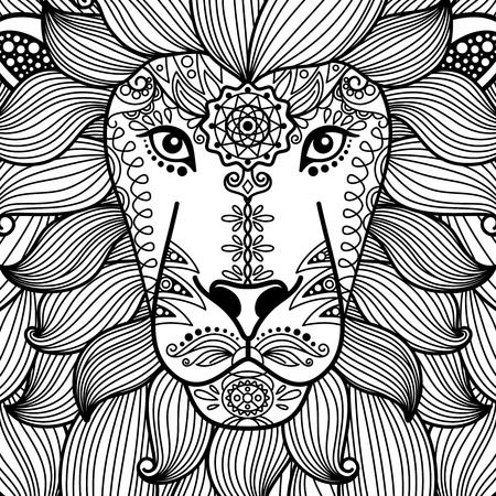 Tête de lion tribal ornement noir et blanc. Illustratoin de vecteur