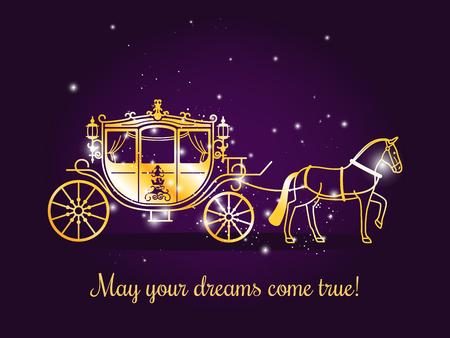 Carro del cuento de hadas con el caballo y chispas en el fondo violeta con el texto Puede sus sueños vienen verdad. Ilustración del vector Ilustración de vector