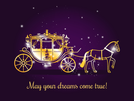 Fairy tale carriage with horse and sparkles on violet background with text May your dreams come true. Vector illustration Reklamní fotografie - 67159125
