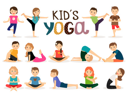 Young kids in different yoga poses on white background. Vector illustration Vettoriali