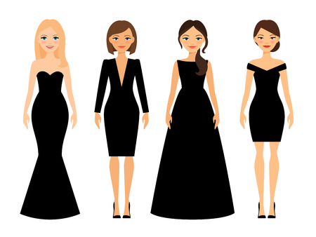 Beautiful women in different style black dresses cartoon characters on white background. Vector illustration 向量圖像