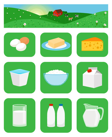 cottage cheese: Milk productsicons in green squares. Farm natural food vector illustration Illustration