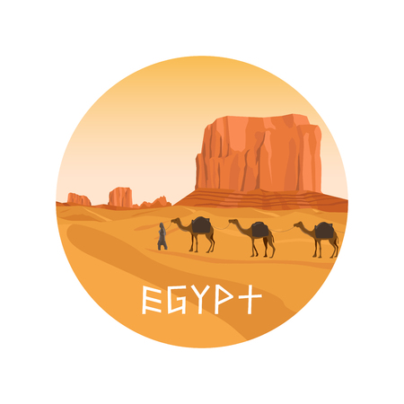 Circle isolated icon with Egypt sahara desert, sand hills and camel. Vector illustration