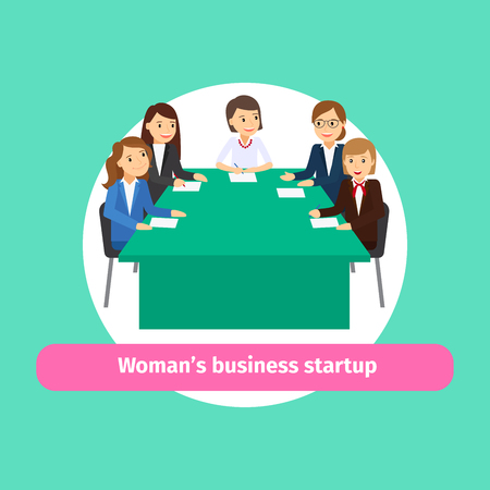 Professional woman business networking. Group of women for business startup vector illustration