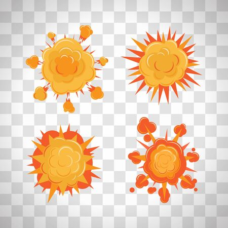 Cartoon comic burst or explosion set. Bang or bomb blast vector fire splash set on the transparent background