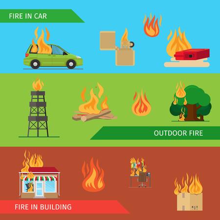 Risque d'incendie en-têtes horizontales ou des bannières colorées. Vector illustration