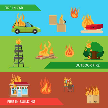 Fire risk horizontal headers or colorful banners. Vector illustration Illustration