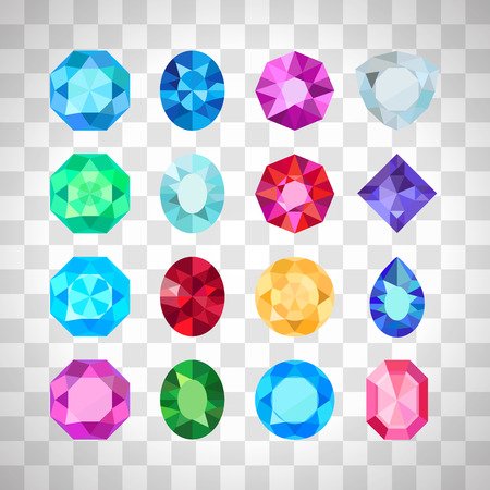 Gems isolated on white background. Vector jewels or precious diamonds gem set on the transparent background Vectores
