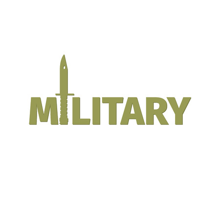 Military shop isolated vector logo design with kinfe Illustration